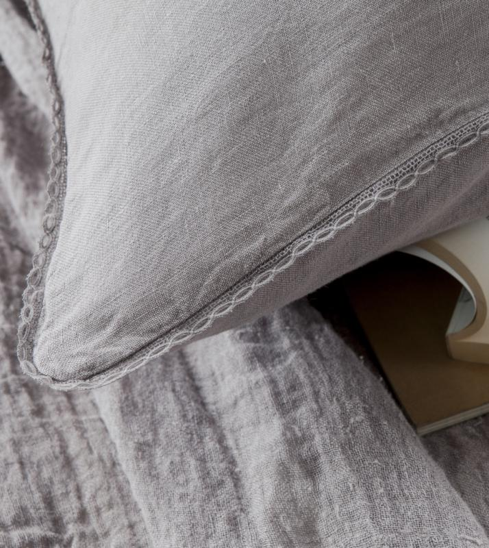 Taie d'oreiller avec dentelle - Couleur Chanvre