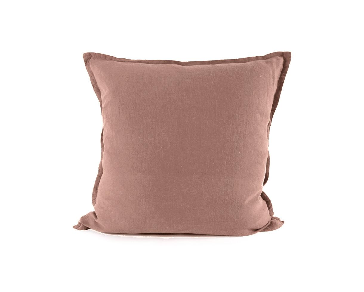 Pillowcase with flounce Sand Rose - Couleur Chanvre