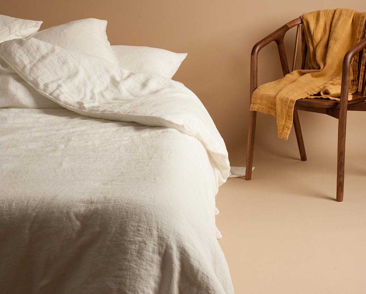 Bettbezug aus reinem Hanf Kalkweiß - Couleur Chanvre