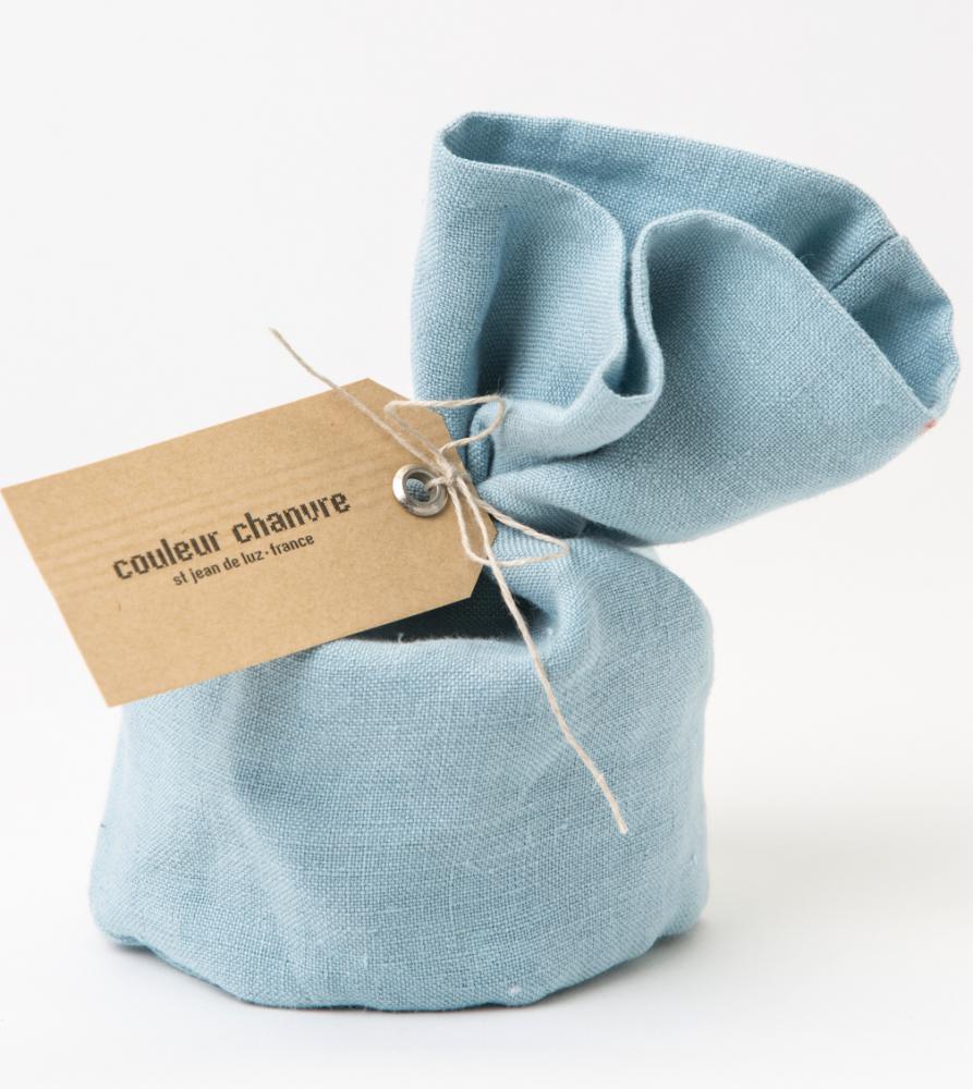 Bougie Habillée par CC Bleu Glacier - Couleur Chanvre