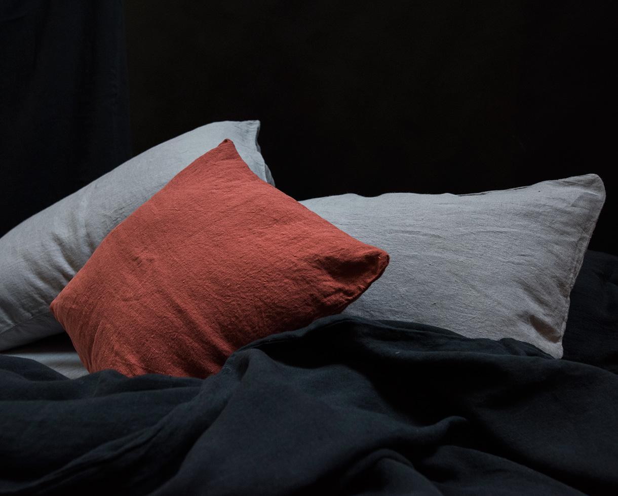 Funda de almohada en cáñamo puro Gris Ceniza - Couleur Chanvre