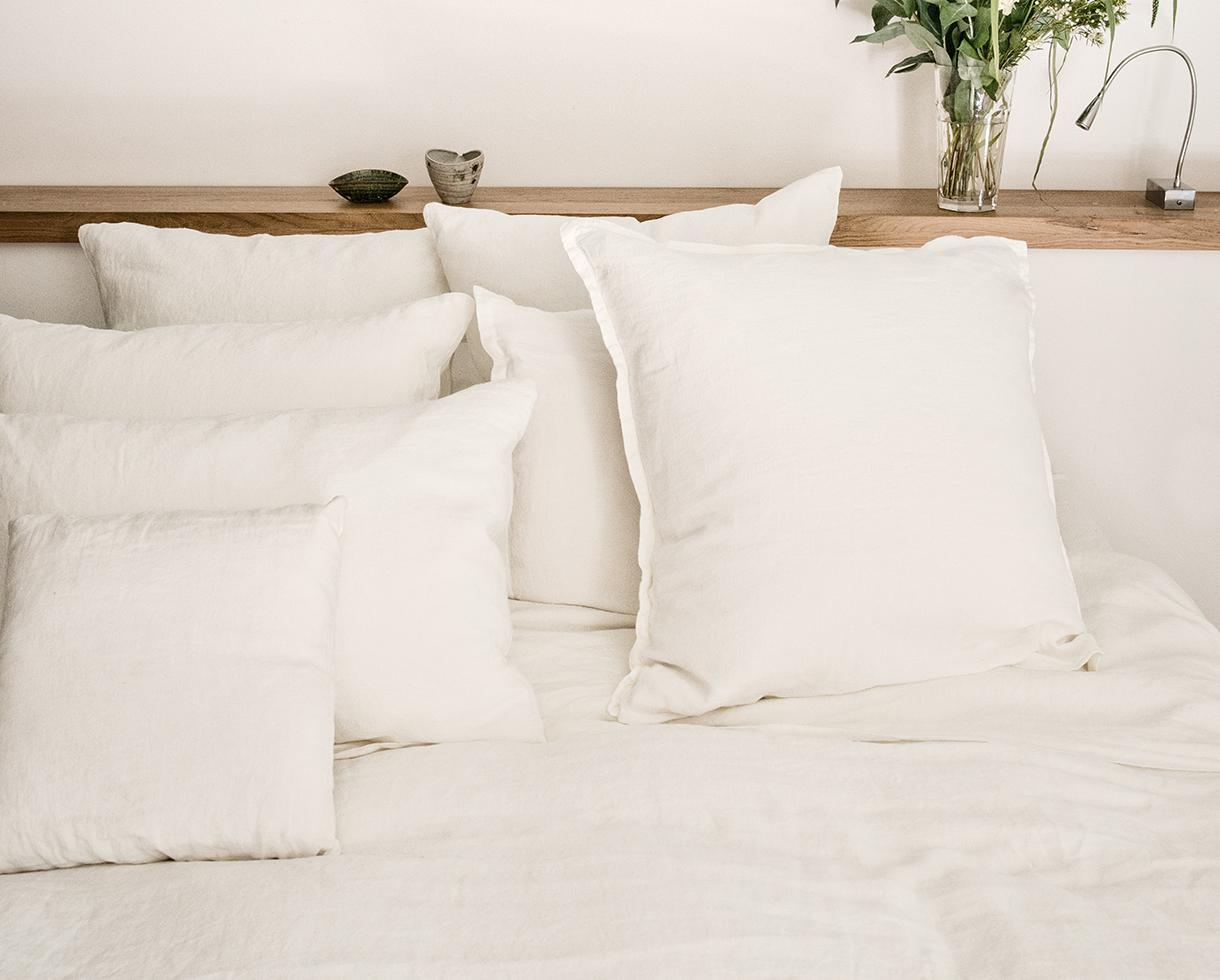 Funda de almohada en cáñamo puro Blanco de cal - Couleur Chanvre