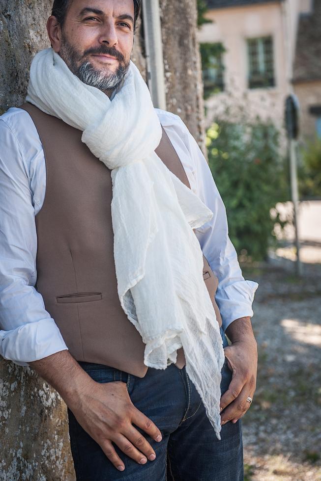 Hemp shawl White Limestone - Couleur Chanvre