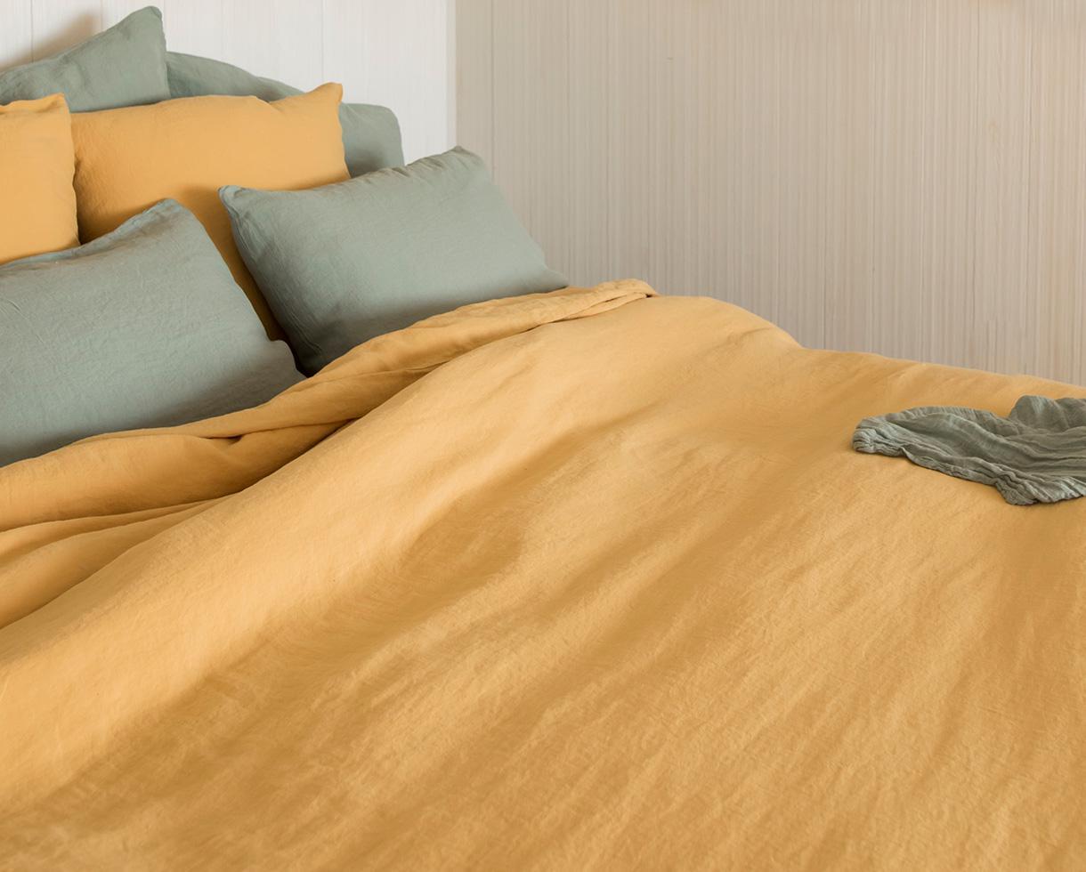 Linen duvet cover Naples Yellow - Couleur Chanvre