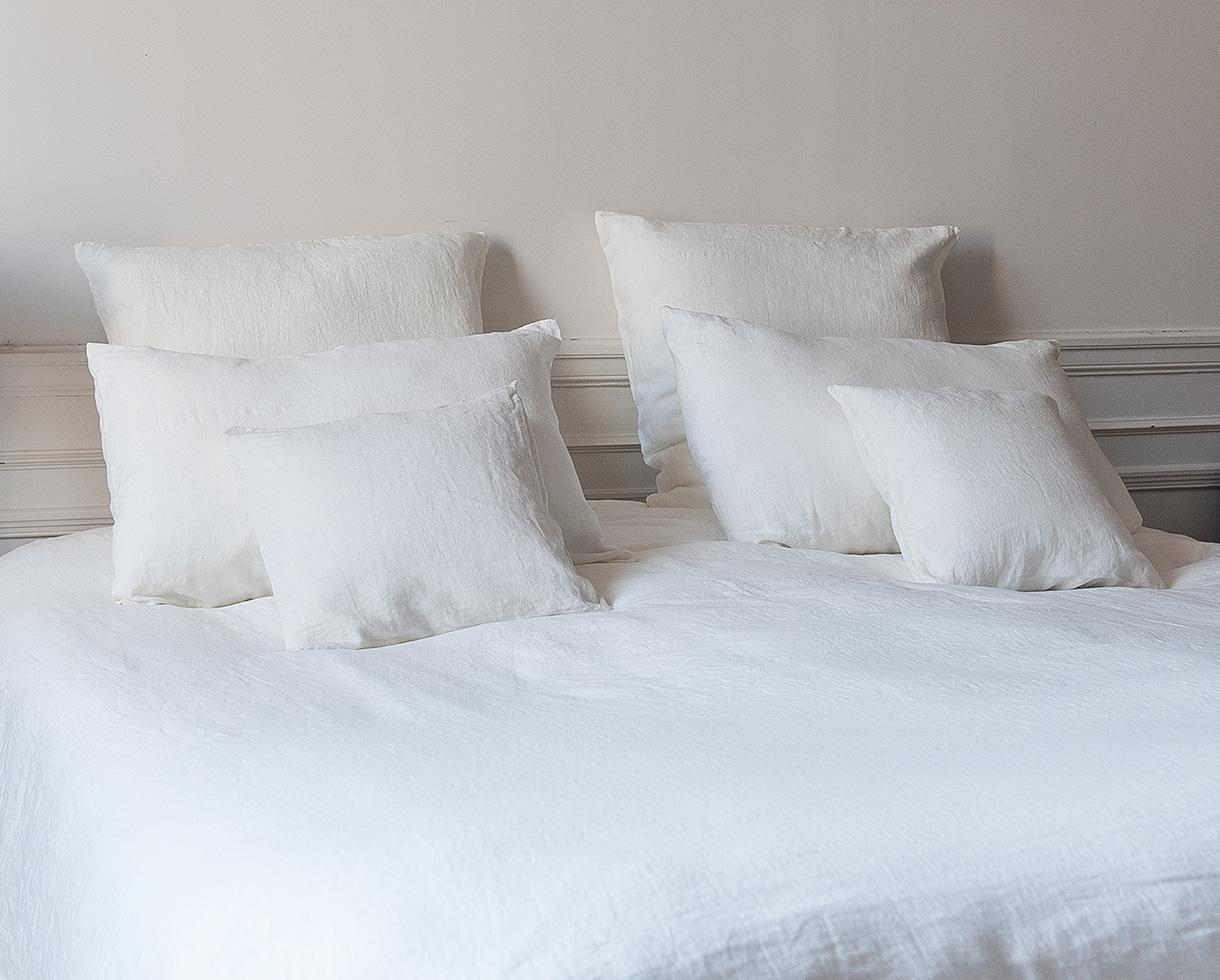 Funda de edredón en lino Blanco de cal - Couleur Chanvre