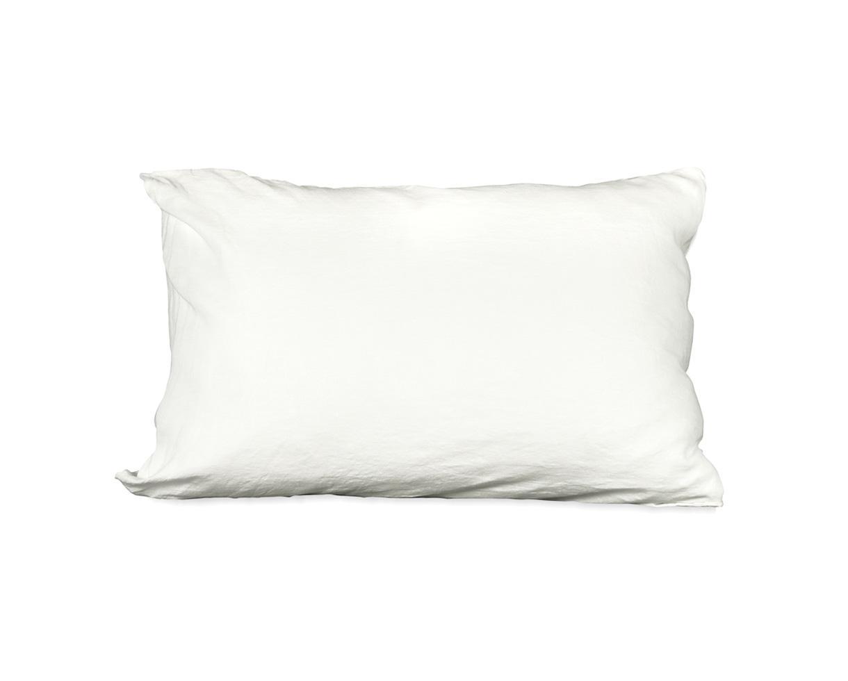 Taie d'oreiller en lin Blanc de chaux - Couleur Chanvre