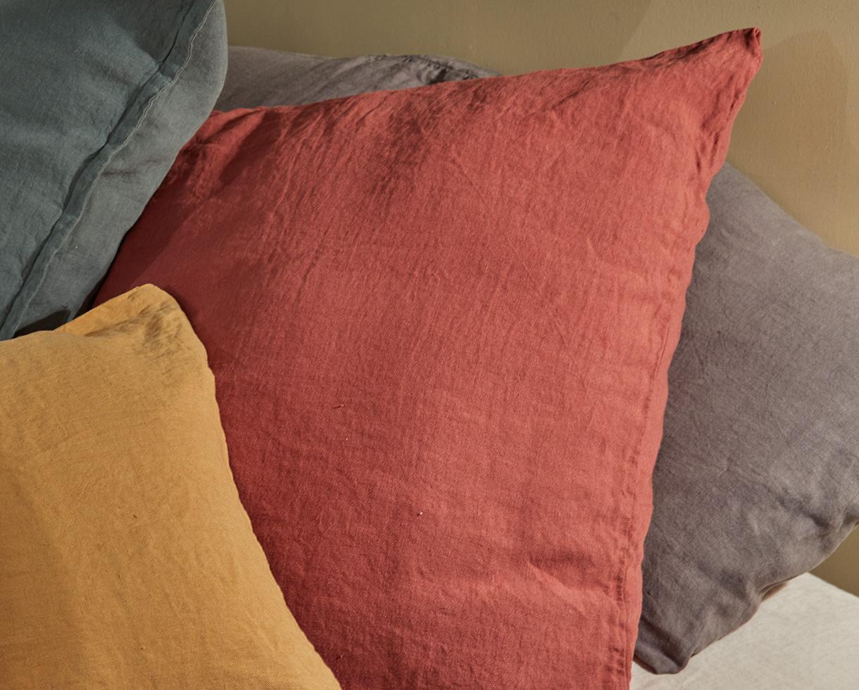 Funda de almohada en lino Rojo Ocre - Couleur Chanvre