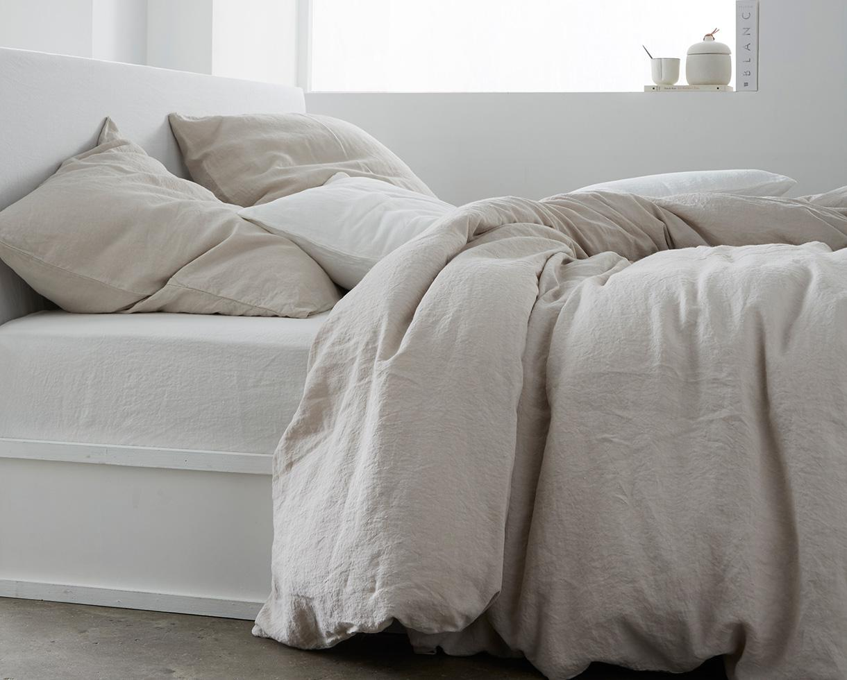 Linen fitted sheet White Limestone - Couleur Chanvre