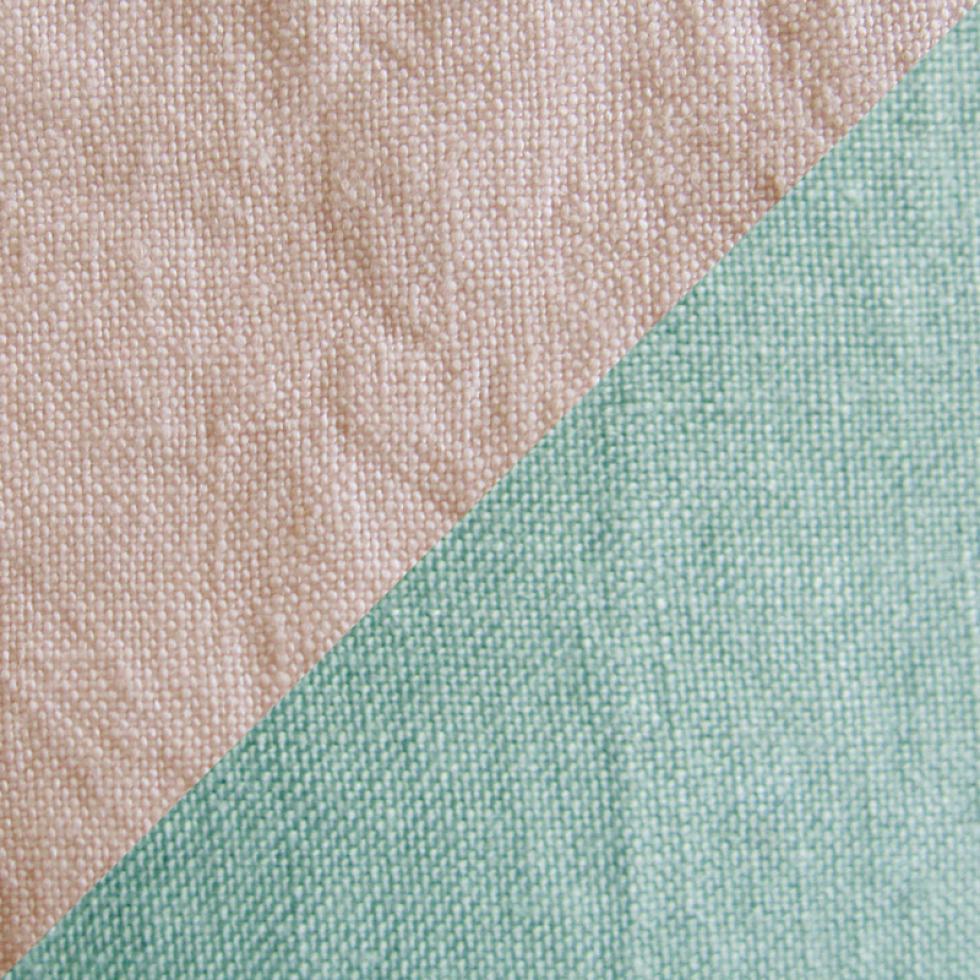 Housse de couette en chanvre bicolore Rose 1900 / Vert d'eau - Couleur Chanvre