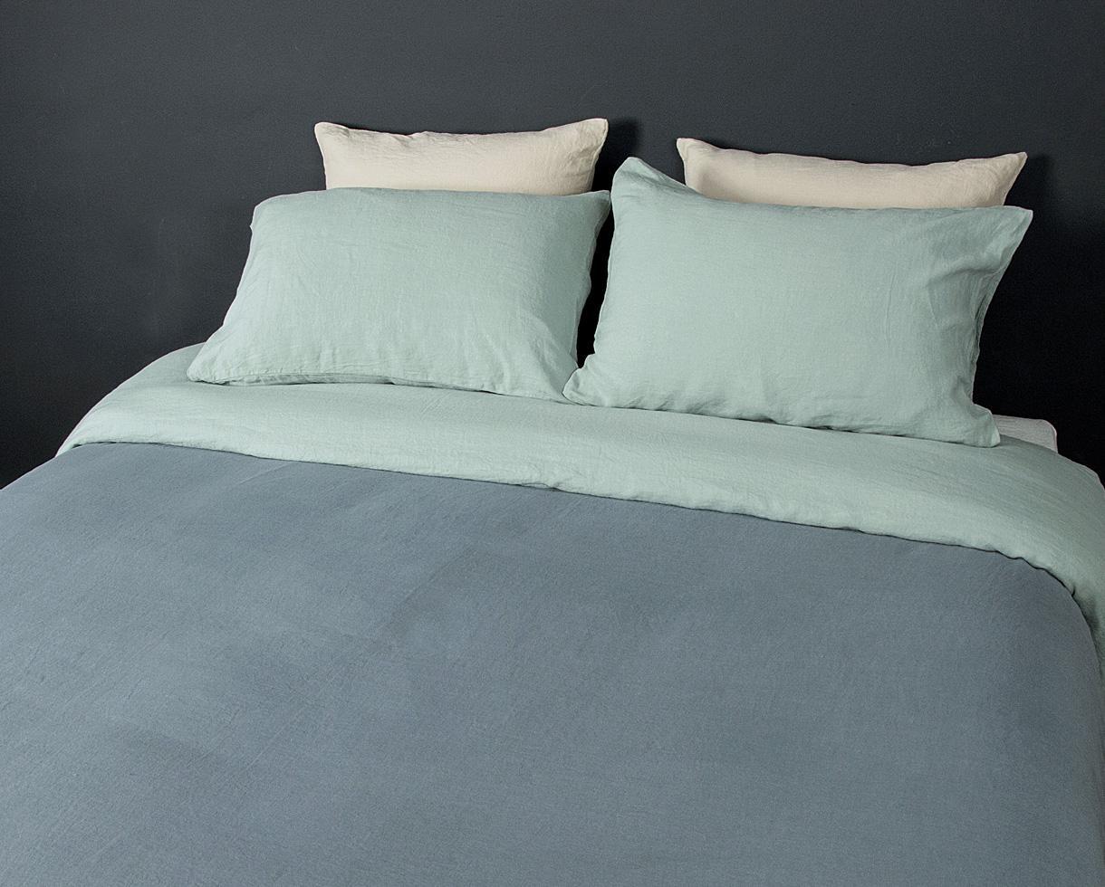 Zweifarbiger Bettbezug Blauer Tee / Wassergrün - Couleur Chanvre