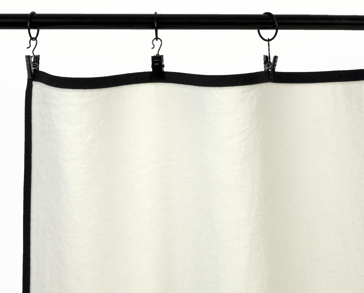 Rideau en lin avec biais noir Blanc de chaux - Couleur Chanvre