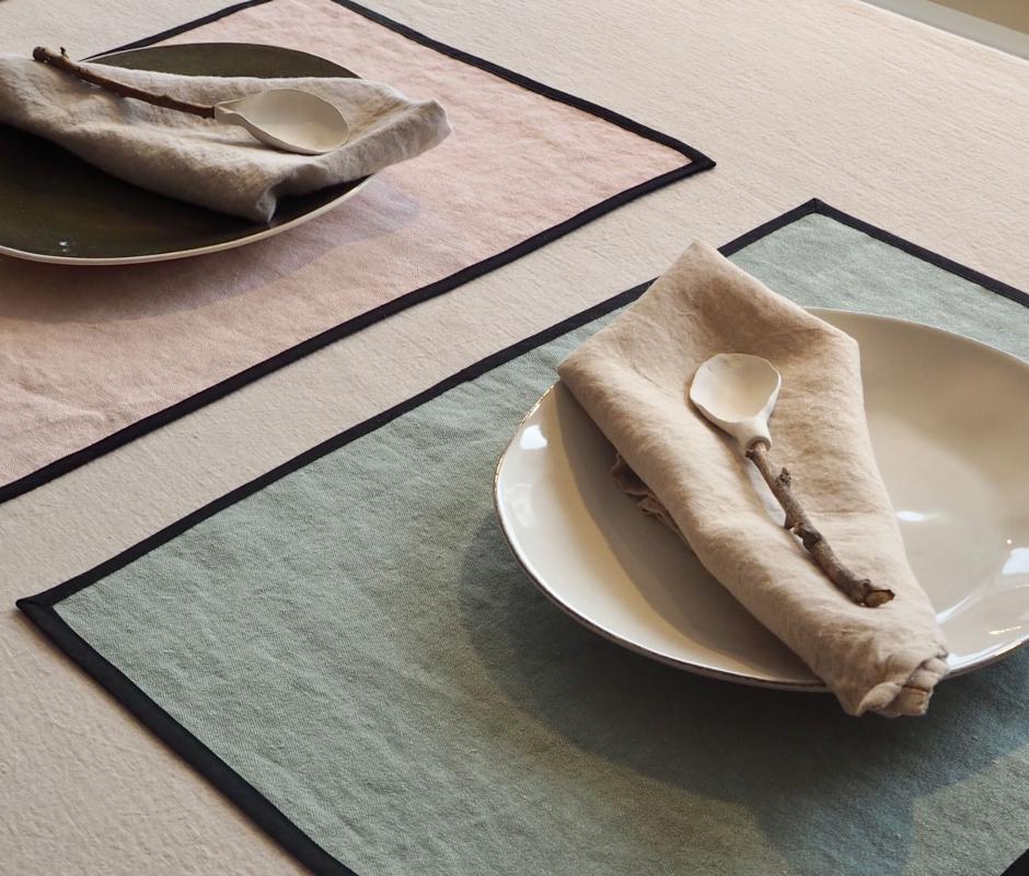 Set de table en lin avec biais - Couleur Chanvre