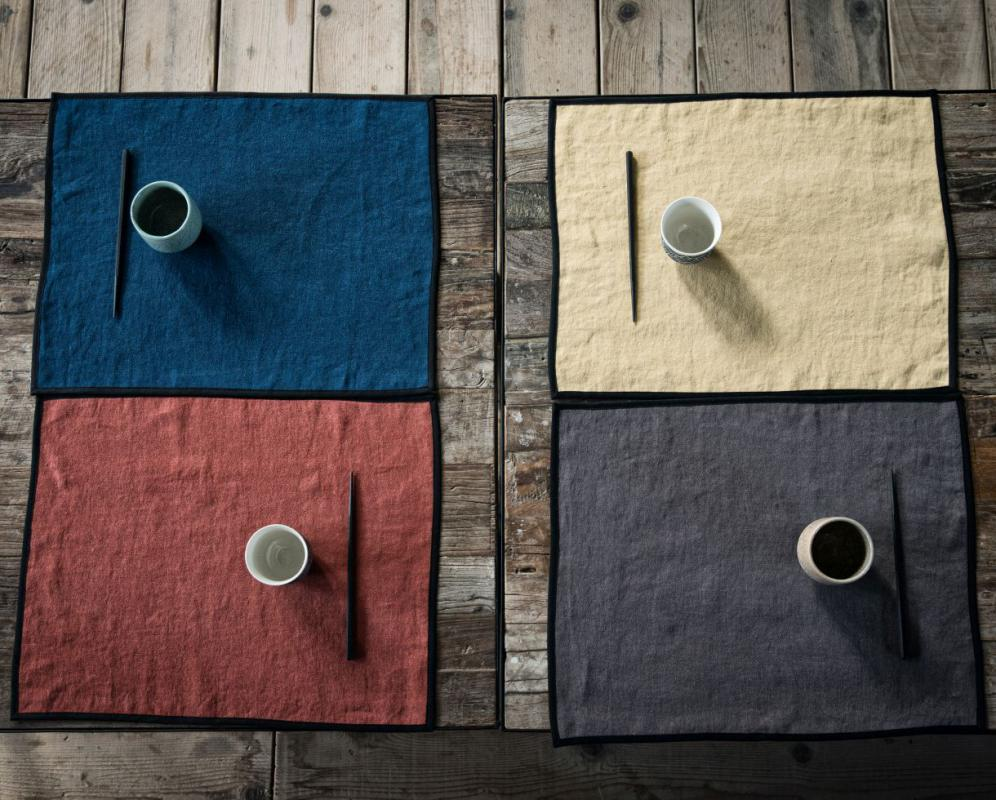 set of 6 linen placemats with black bias - Couleur Chanvre