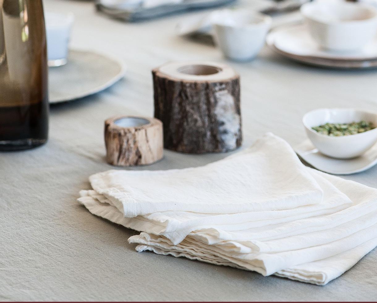 Stoffservietten aus Leinen Kalkweiß - Couleur Chanvre