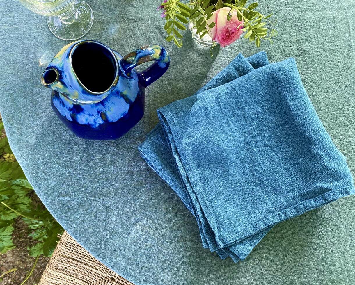 Serviette de table en lin Bleu du Sud - Couleur Chanvre