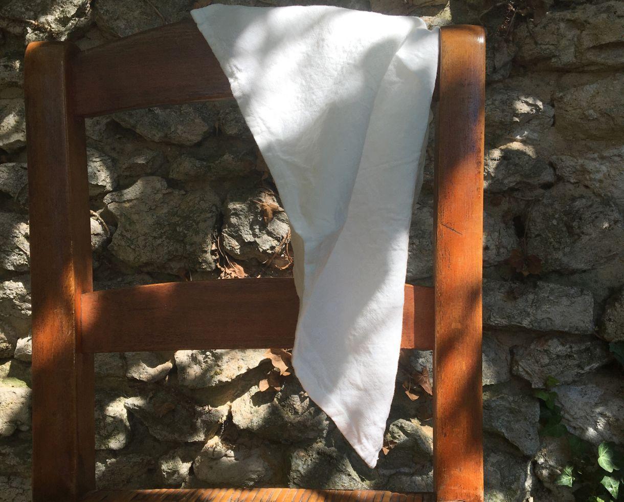 Linen tea towel White Limestone - Couleur Chanvre