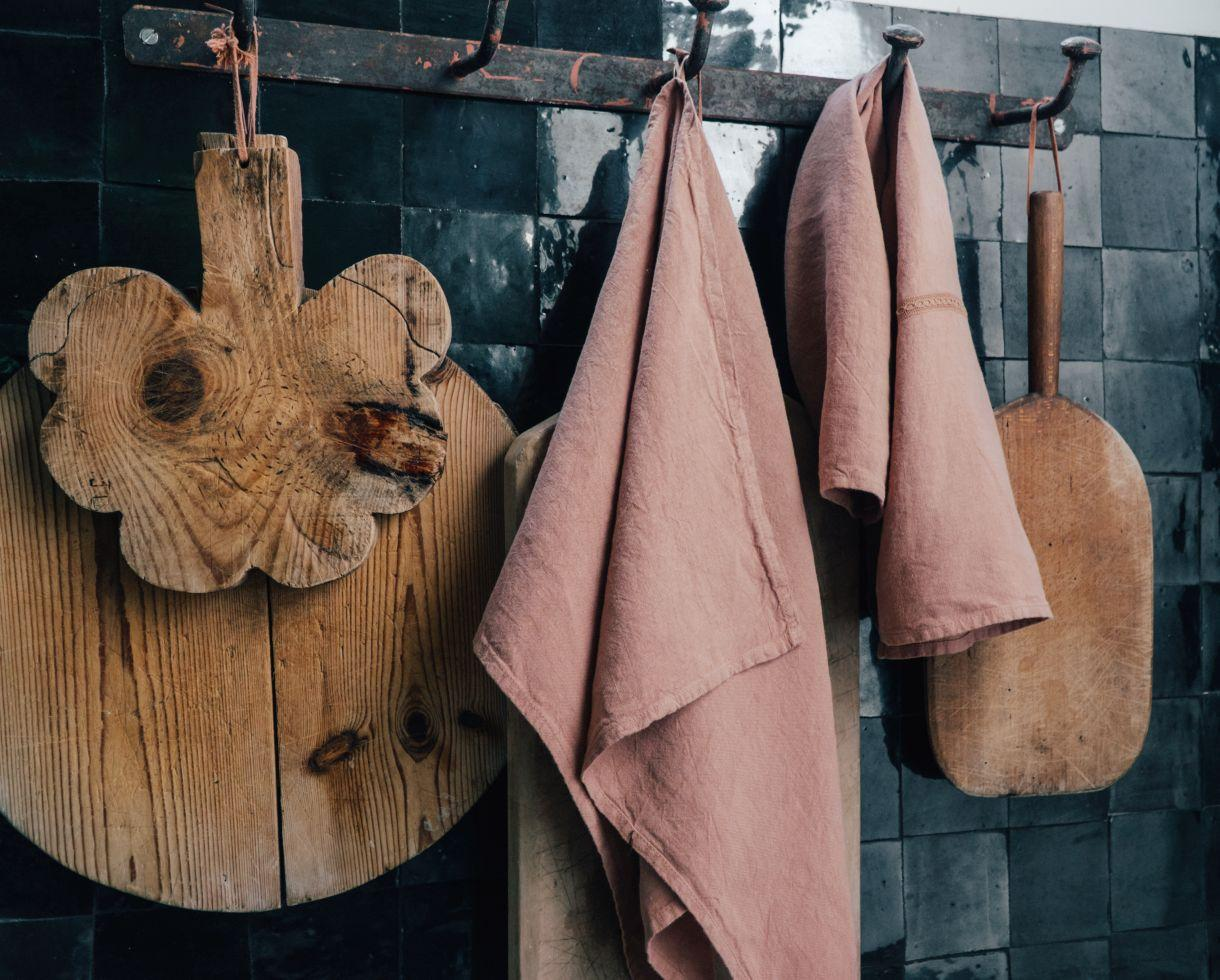 Linen tea towel Sand Rose - Couleur Chanvre