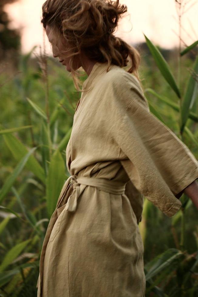 Kimono en lino Amarillo de Napoles - Couleur Chanvre