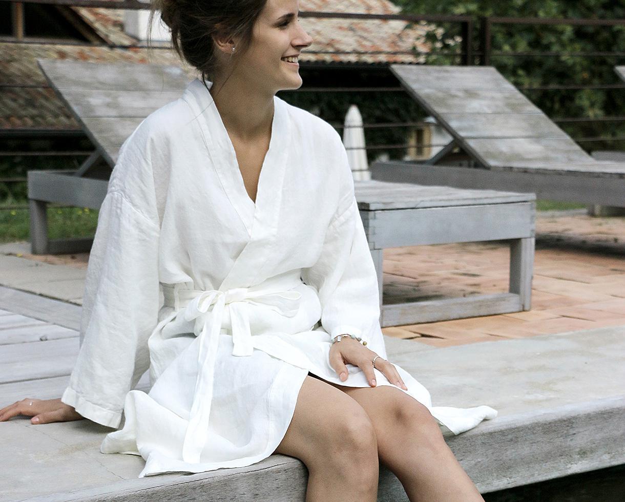 Kimono en Lin Blanc de chaux - Couleur Chanvre