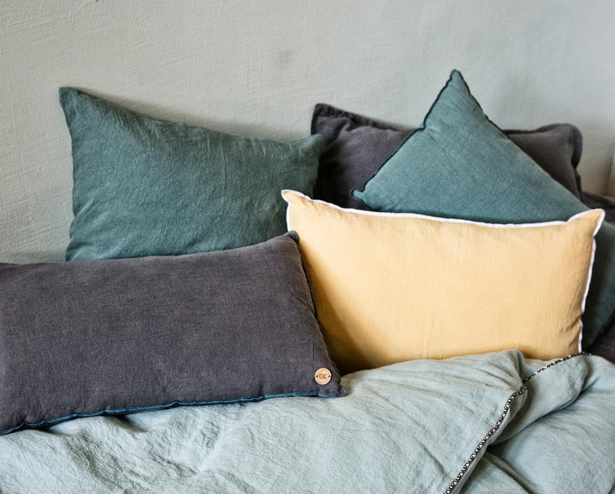 linen cushion Epure Naples Yellow - Couleur Chanvre