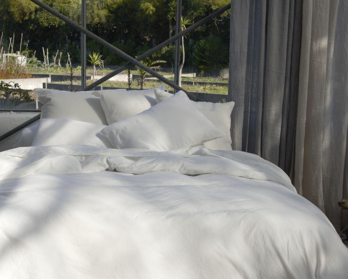 Bettdeckenbezug aus Bio-Baumwolle Kreide - Couleur Chanvre