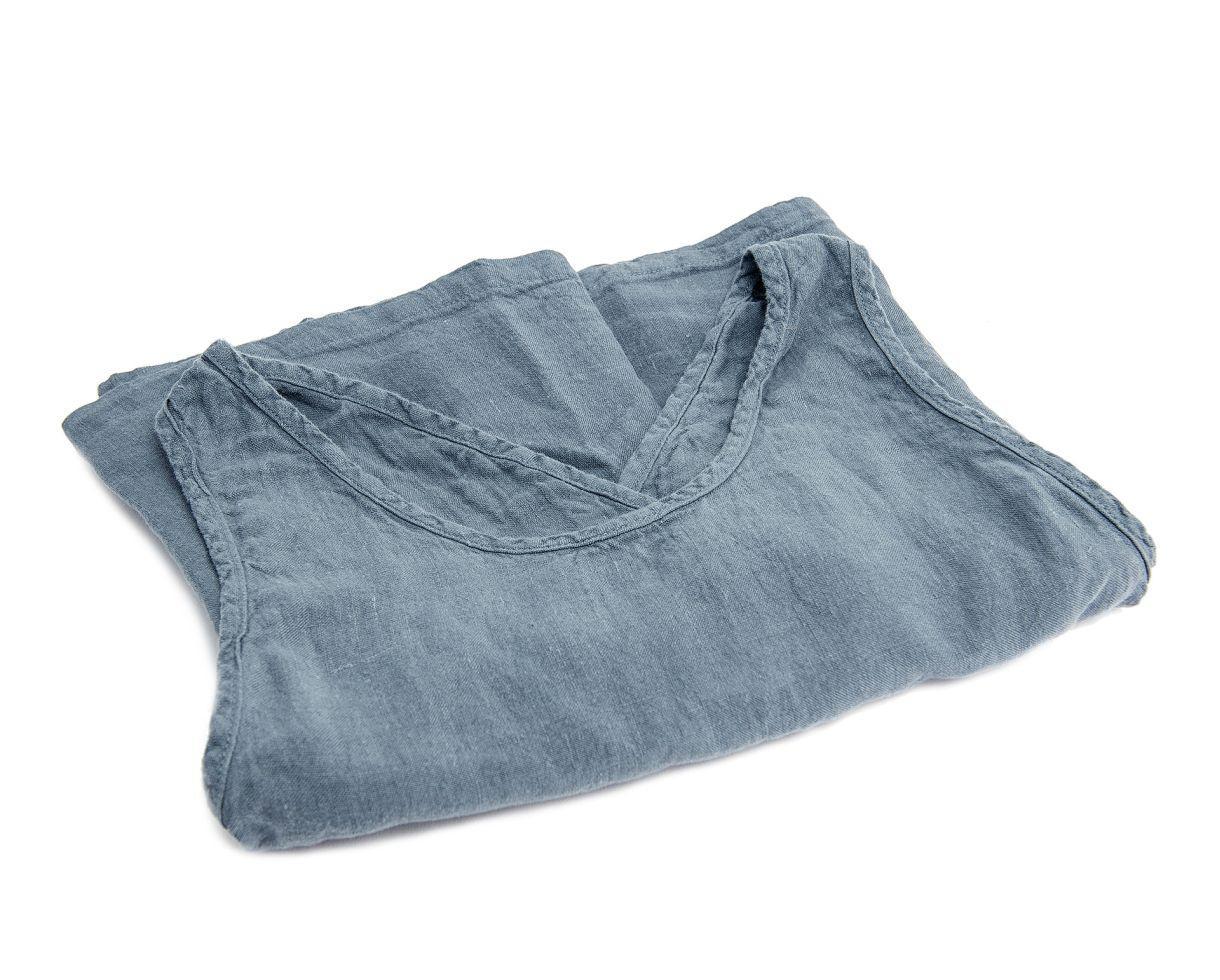 Delantal Li en lino Té azul - Couleur Chanvre