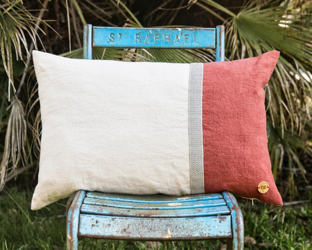 linen cushion Chevron - Couleur Chanvre