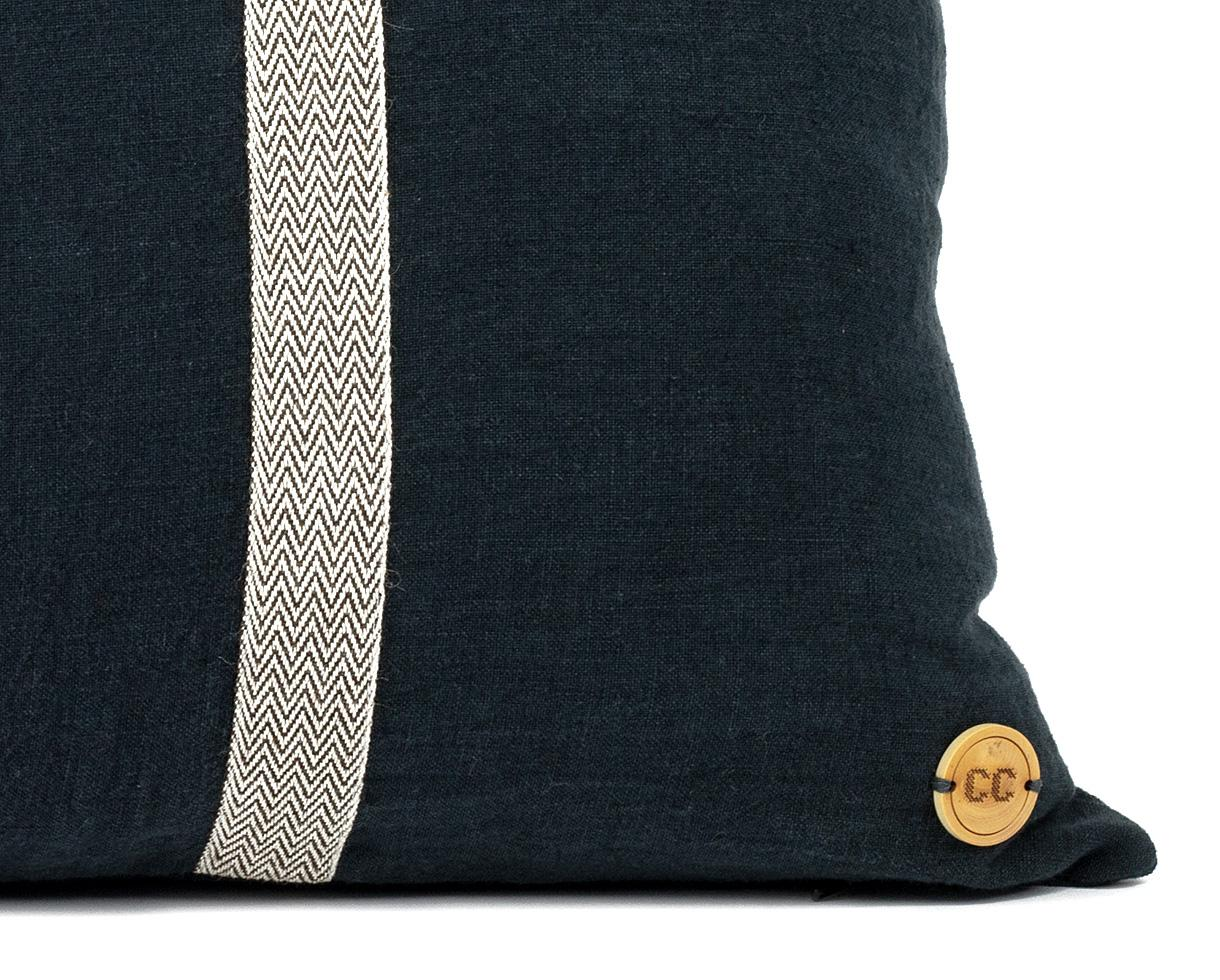 linen cushion Chevron Slate - Couleur Chanvre