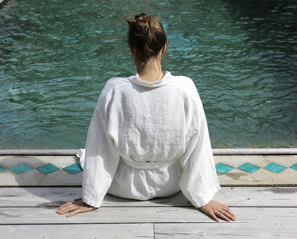 Kimono en cañamo Blanco de cal - Couleur Chanvre