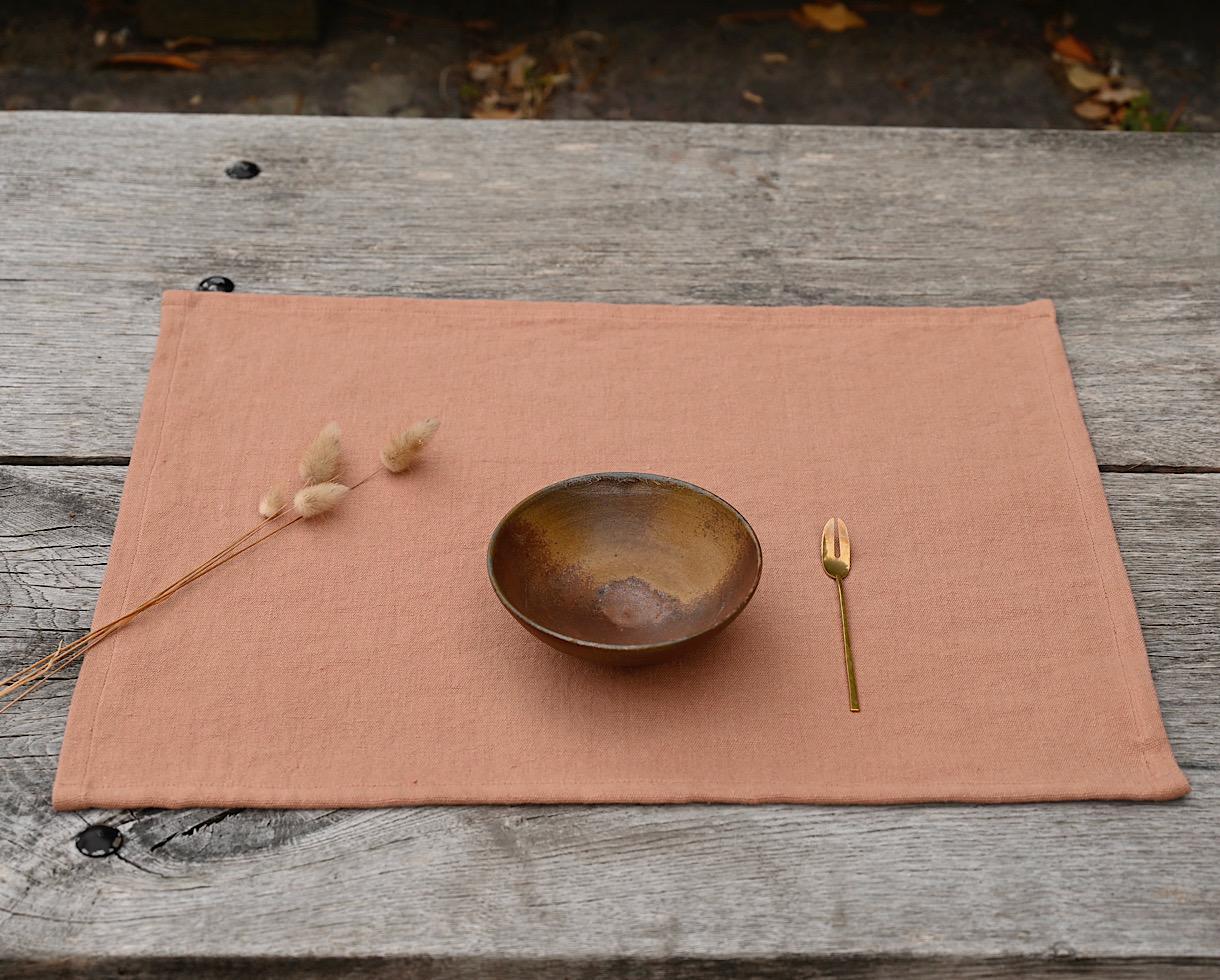 Set de table en lin 500 gr Rose des sables - Couleur Chanvre