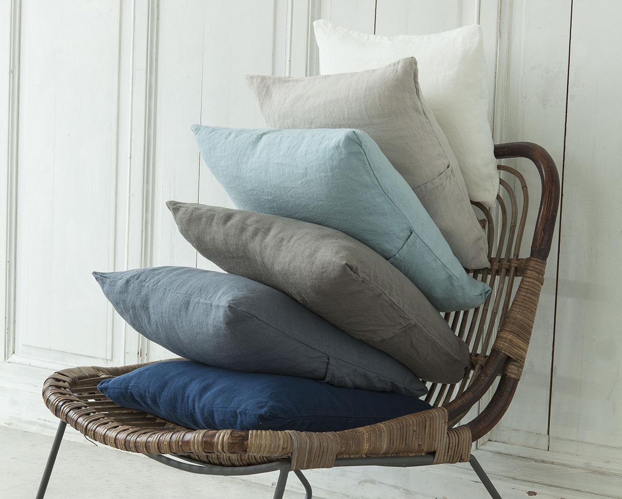 Plain hemp cushion cover White Limestone - Couleur Chanvre