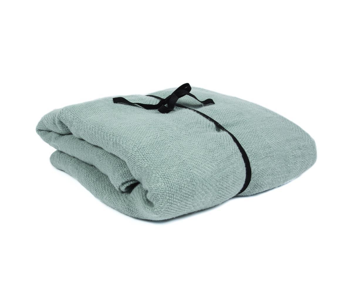 Jacquard Bedspread / Plaid Water Green - Couleur Chanvre