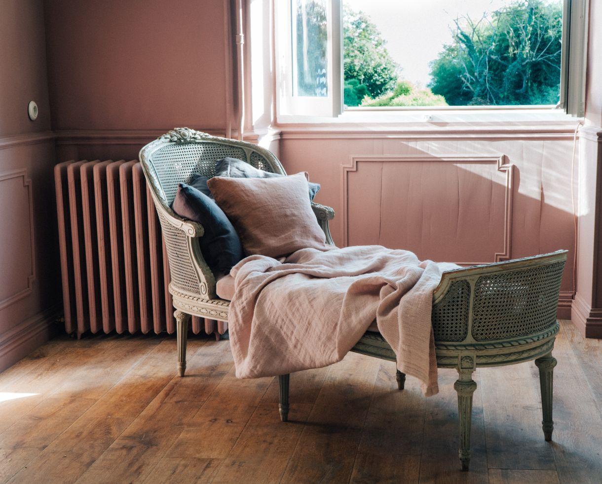 Couverture / Plaid Jacquard en chanvre Rose 1900 - Couleur Chanvre