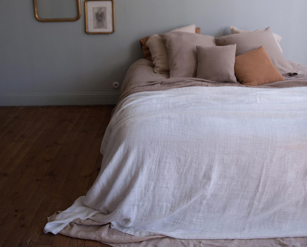 Couverture / Plaid Jacquard en chanvre Blanc de chaux - Couleur Chanvre