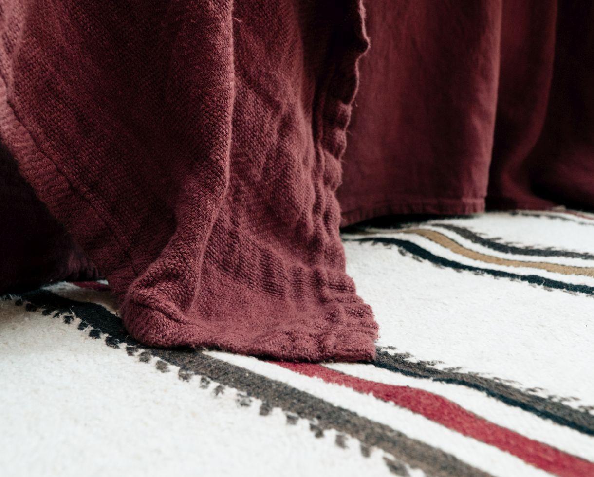 Couverture / Plaid Jacquard en chanvre Ocre Rouge - Couleur Chanvre